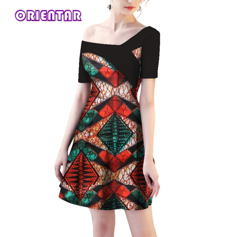 37fa78b82ec ... Black African Print Fashion Party Dress Traditional African. Hover to  zoom