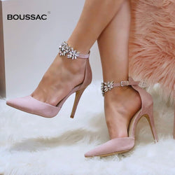 Elegant Rhinestone High Heels Women Pumps Silk Pointed Toe Wedding Shoes Women Buckle Strap Crystal Party Shoes Women SWB0025