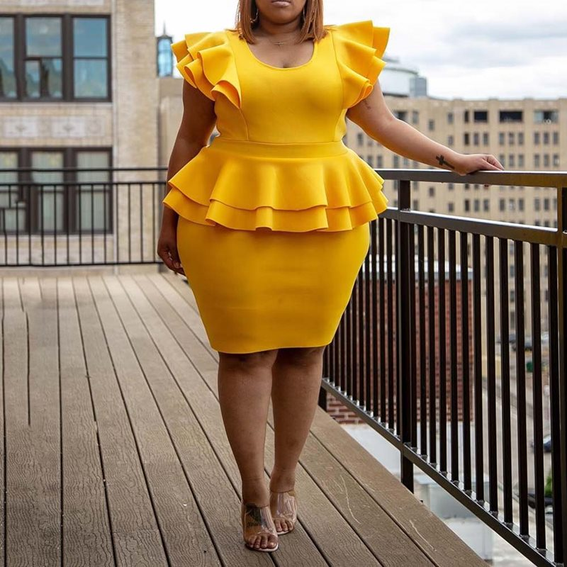 Elegant Ruffles Yellow Dress 2019 Summer Knee-Length Falbala Short Sleeve  Plain Dress Plus Size Office Lady Bodycon Dresses