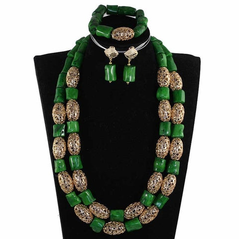 Elegant Women African Coral Beads Jewelry Set Flower Chunky Bib Statement Wedding Jewelry Set Coral 2019 New CNR913