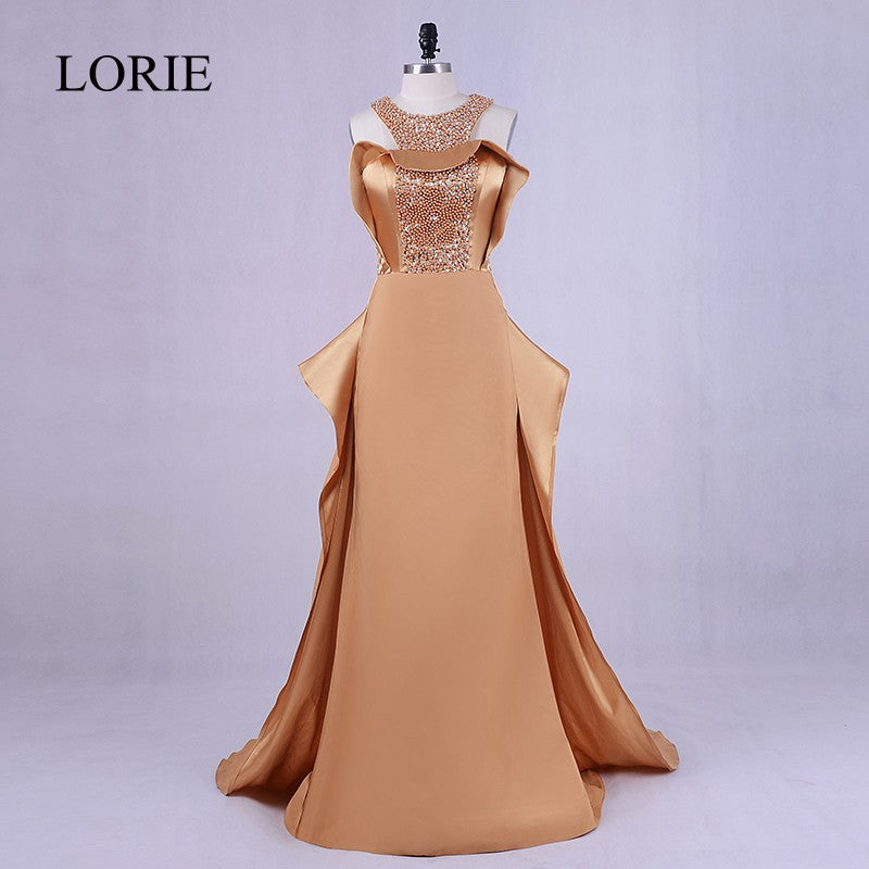 a8f4696e577bc Hover to zoom · Elegant Women Gold Evening Dress 2018 Plus Size Robe Soiree  Bling Bling Beading Prom ...