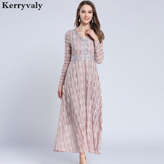 Elegant Women Long Sleeve Lace Maxi Dress Vestido Longo 2019 Long Beach  Party Dress Robe Longue ... 45f27d088f77