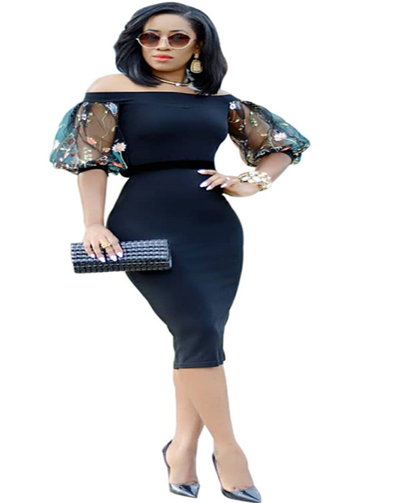 e5eb5fd05e68 Embroidery Floral Women Summer Elegant Slim Dresses Office Lady Off Shoulder  Work OL Bodycon Pencil Dress. Hover to zoom