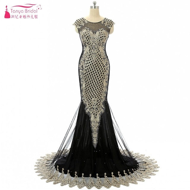 0202dfee568 Embroidery Long Mermaid Prom Dresses 2018 Black Red Blue Gold ...