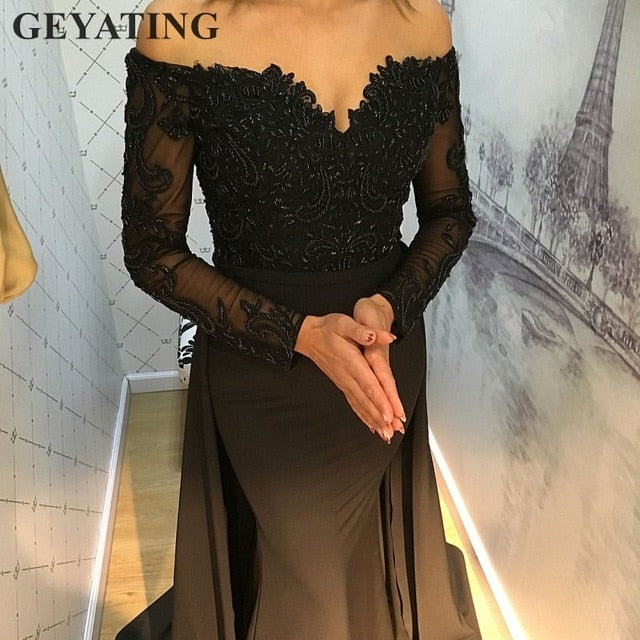 1d1266bbd91c Hover to zoom · Emerald Green Lace Long Sleeves Mermaid Evening Dress ...