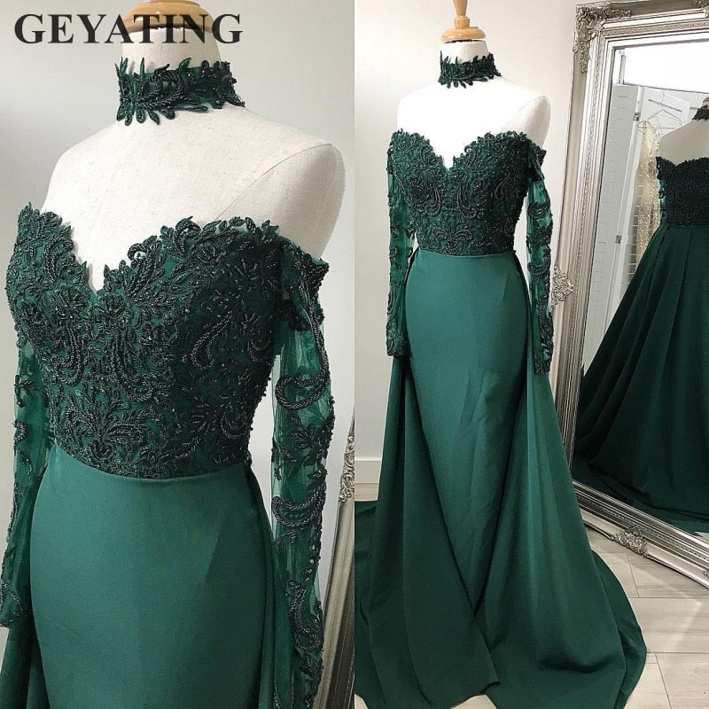 aa484c442cf Hover to zoom · Emerald Green Lace Long Sleeves Mermaid Evening Dress with  Detachable Skirt Off Shoulder Arabic Elegant Long