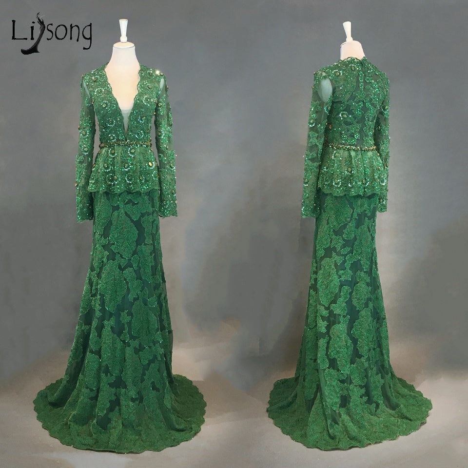 06f1b55007 Emerald Lace Evening Dresses Full Sleeves With Crystal Beaded Aso Ebi Prom  Gowns Peplum 2018 African Evening Gowns Nigeria