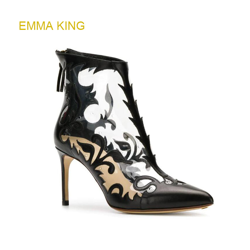 f53fd662c5b7 ... Emma King New Fashion PVC Transparent Ankle Boots Women High Heels  Pointed Toes Cut Out Sexy