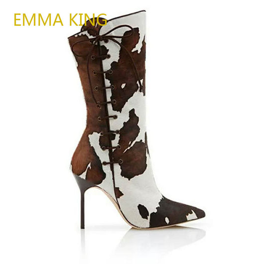 Emma King Real Leather Cow Print European Brand Design High Heel Shoe Woman Mid-Calf Leather Pointed-Toes Boots Women 2018