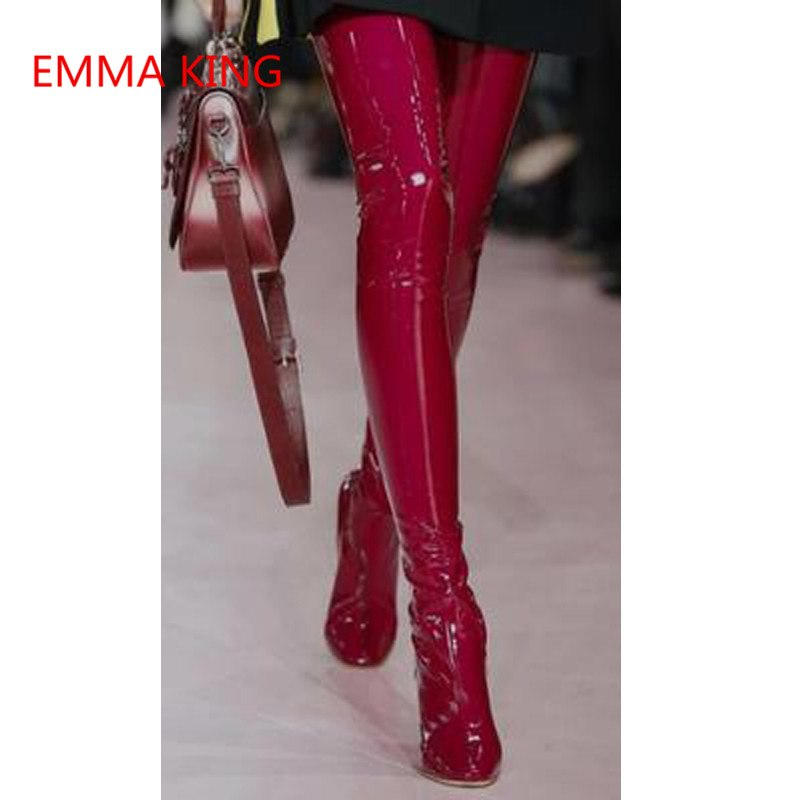 3244b248f3a ... Emma King Women Patent PU Leather Over The Knee Boots Pointed Toe  Transparent Thick High Heels