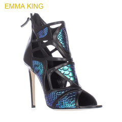 e5d115e6037 Emma King Women Pumps Sexy New Fashion Open Toes Snake Skin Sandals Ankle  Straps Thin High ...
