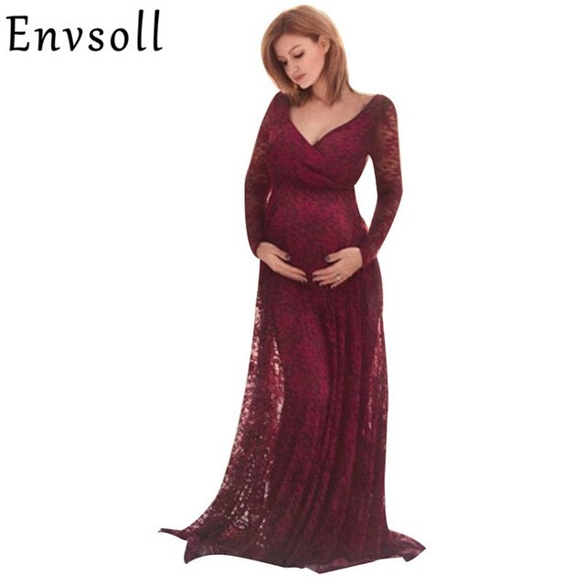 c4421d0489fbd Envsoll New Maternity Dress For Photo Shoot Red Lace Gown Sexy Vestidos Maternity  Photography Props Clothes. Hover to zoom