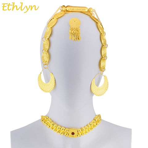 Image of Ethlyn  Eritrean Wedding Traditional Jewelry Five Pcs Choker Sets Gold Color Stone Wedding Jewelry Sets Ethiopian Women S84