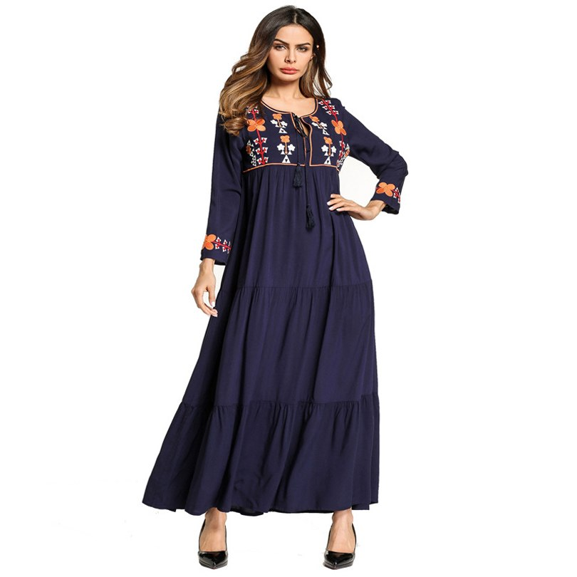 12ddec26e2 Hover to zoom. PrevNext. Image of Ethnic Embroidered Maxi Dress Muslim Abaya  ...