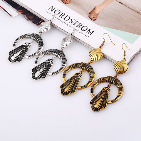 Ethnic Gypsy 2017 Fashion Big circle Crystal Drop Earrings Vintage Long tassel Boho Channel Earrings For Women Jewelry wholesale