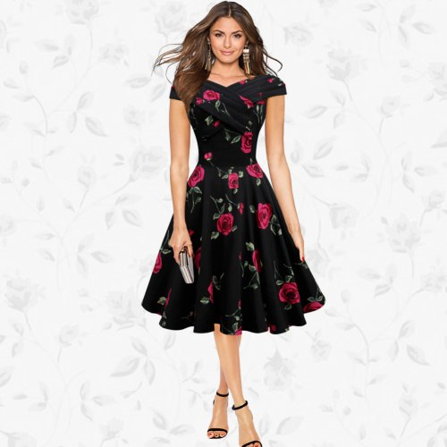 Europe and the United States women\'s plus-size new summer dresses with  short sleeves printed retro red roses posed a party dress