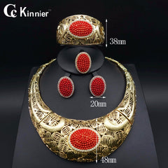 Exaggerate Fashion jewelry set Nigeria Dubai gold-color African bead jewelry wedding jewelry set african beads jewelry sets