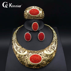 Image of Exaggerate Fashion jewelry set Nigeria Dubai gold-color African bead jewelry wedding jewelry set african beads jewelry sets