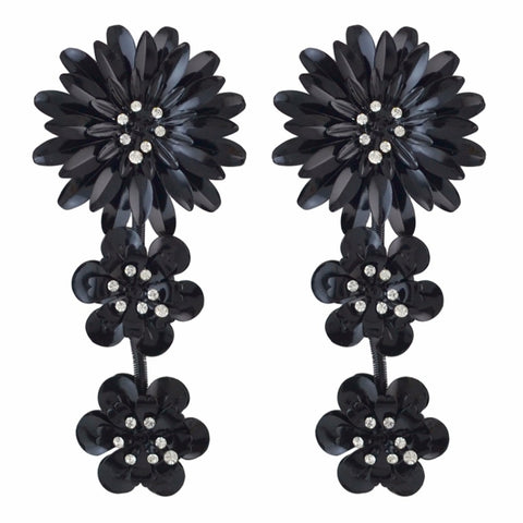 Exaggerated Elegant Big Flower Gold Silver Black Metal Rhinestone Long Drop Earrings For Women 2018 Jewelry Bijoux Party Gift