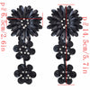 Image of Exaggerated Elegant Big Flower Gold Silver Black Metal Rhinestone Long Drop Earrings For Women 2018 Jewelry Bijoux Party Gift
