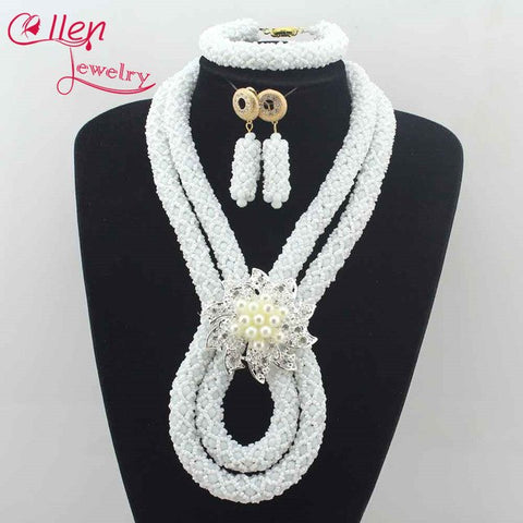 Exclusive New Coral Orange Crystal Bridal Beads Statement Necklace Set Nigerian Wedding Bib Jewelry Set Free Shipping L0068