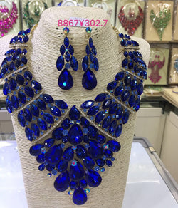 Exclusive Royal Bue Crystal Rhinestone Wedding Jewelry Sets Indian Bridal Necklace Earrings Set Women Party Jewelry Set WC040