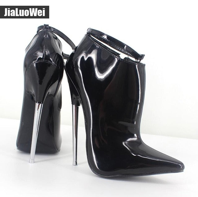 9bd800da63d Extreme High Heels Women Spring Autumn Pumps 18cm Metal Spike Heels Pointed  Toe Stiletto Sexy Ankle Strap Party Dance Shoes