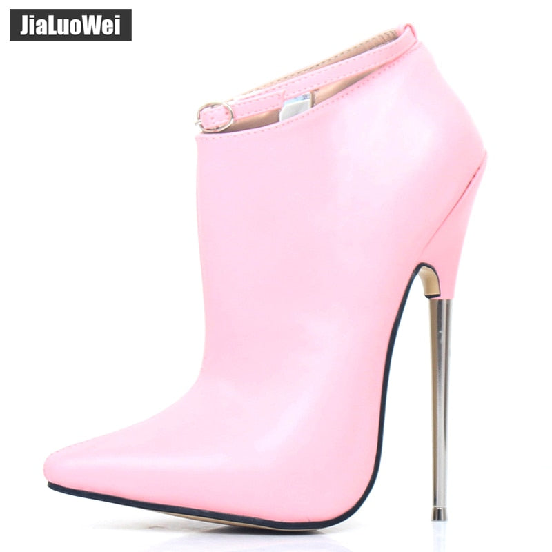Metal Party Heels Pumps Extreme Pointed Stiletto Shoes Sexy High Ankle Spring Strap Autumn 18cm Spike Toe Women Dance y0mwvn8ON