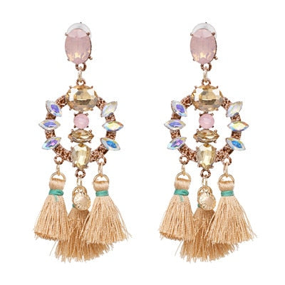 FASHIONSNOOPS Charm Fringed Bijoux Luxury Pendant Tassel Statement Earrings Hot Sale Boho Shiny Drop Dangle Earrings For Women
