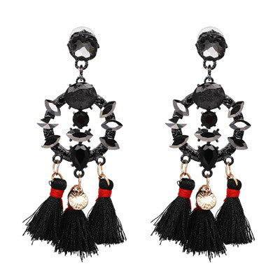 b6b78c15844 ... Image of FASHIONSNOOPS Charm Fringed Bijoux Luxury Pendant Tassel  Statement Earrings Hot Sale Boho Shiny Drop ...