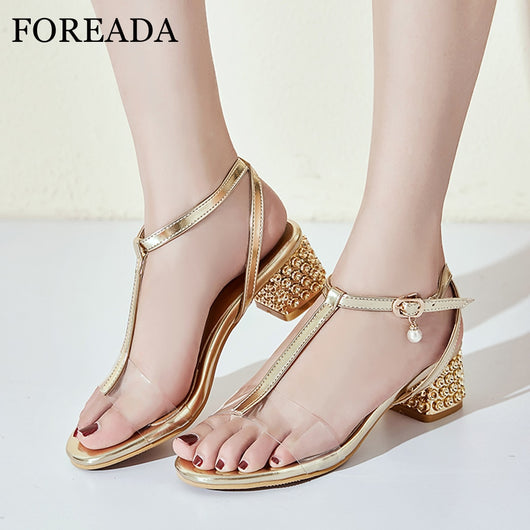FOREADA Summer Shoes Women Sandals Buckle Chunky Heels Party Shoes Transparent Open Toe T-Strap Sandals Lady Red Big Size 33-43