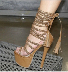 Factory Real Photo Brown Black Chain Sandals High Platform Lace-up Dress Shoes Metal Decorated Fringe Nightclub Sexy Shoes