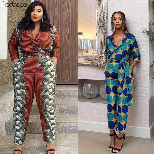 Fadzeco African Jumpsuit For Women Ankara Floral Print Sexy V-Neck Dashiki 2019 African Clothing Casual Overalls Jumpsuits