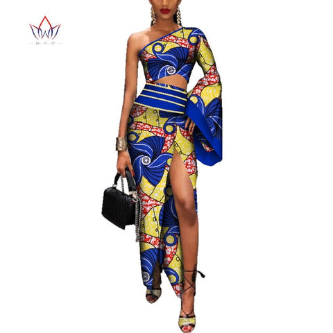 Fall 2018 African Dashiki Dress for women Bazin Riche Long Sexy Dress Africa Wax Print Dresses for Women Plus Size  WY3537