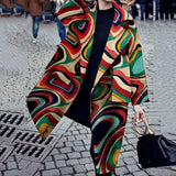 Fall Fashion Trench Female Color Block Print Long Coat Women Oversize Clothing Casual Boho Plus Size Overcoat Lapel 3XL New 2019