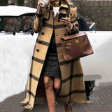 Fall Winter Women Wool Coat Overcoat Vintage Plaid Woolen Blends Graphics Long Trench Coats Plus Size Office Ladies Outwear 2019