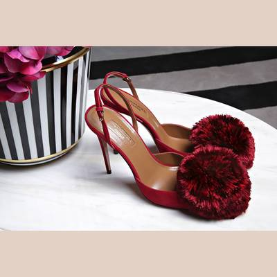 4ef462b0ada Famous Design Pompom Fur Balls Stiletto High Heels Dress Shoes Woman Pumps  Slingback Wedding Party Finge Sandals Ladies Hot Sell