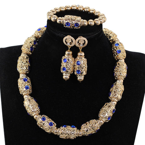 Fantastic Copper Gold African Jewelry Sets Blue Rhinestone Crystal Choker Necklace Set for Women 2019 New WE218