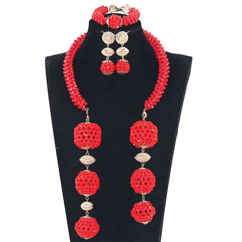 Fantastic Copper Gold Fashion Beads Jewelry Set Women Chunky African Wedding Necklace Set Dubai Gold Bridal Jewelry Set WE150