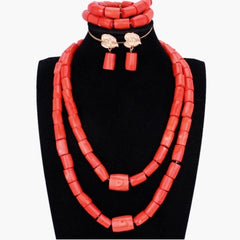Fantastic Wedding Coral Beads Bridal Jewelry Set Big Design Jewellery Set African Nigerian Beads Necklace Set Free Ship 2018 New