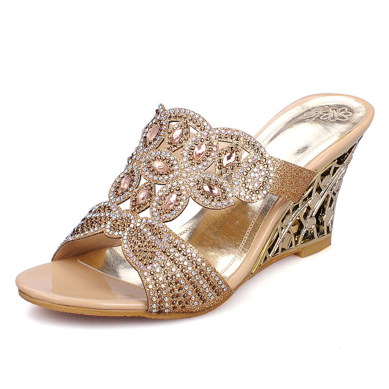 cfe2d4609aa553 ... Fanyuan Size 32-44 Fashion Rhinestone Sandals Wedges Mental High Heel  Cut-outs Sandals ...