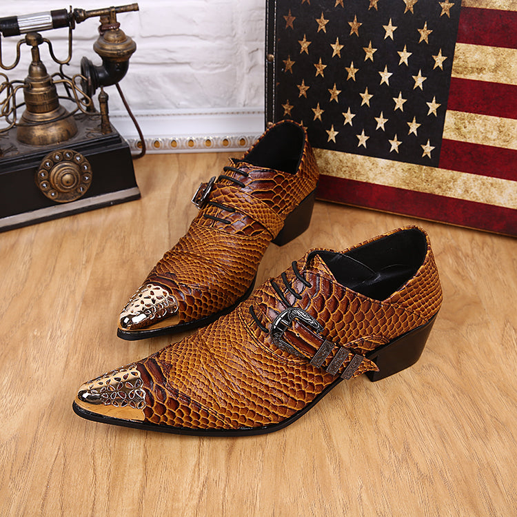 Mens Wedding Shoes.Fashion 2018 Leather Men Wedding Shoes Casual Oxfords Buckle Brown Pointed Toe Men S Formal Shoes Big Size