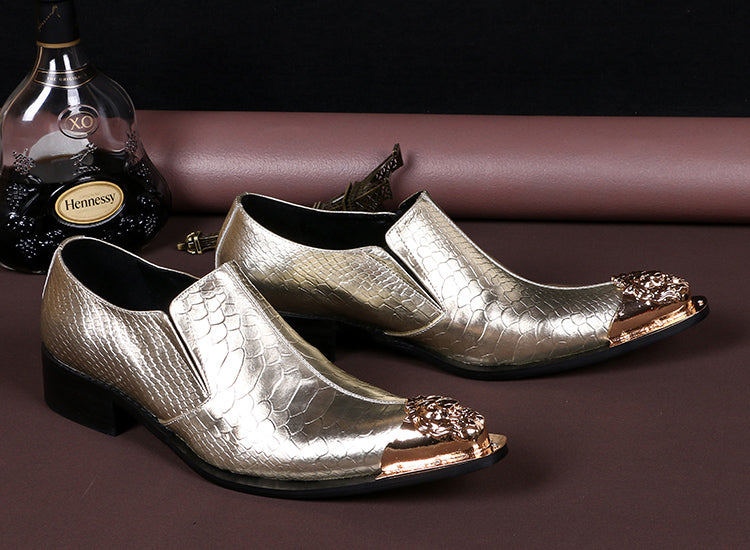 f5619272575 Fashion 2018 Silver Leather Men Wedding Shoes Lace Up Casual Oxfords Wine  Gold Lion Pointed Toe ...