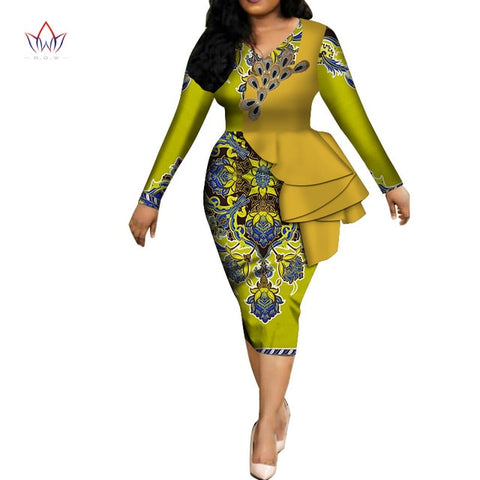 Fashion 2019 spring Africa Dresses for women vestidos Print Fabric Elegant Africa Clothes Ruffles African Clothing BRW WY3582