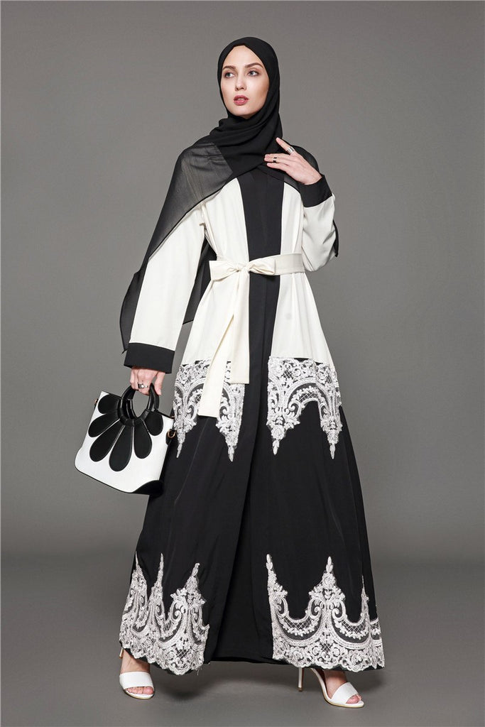 15f9e6e5c3 Fashion Adult Muslim Maxi Dress Lace Openwork Stitching Robes Tunic Middle  East Arab Turkish Islamic Plus. Hover to zoom