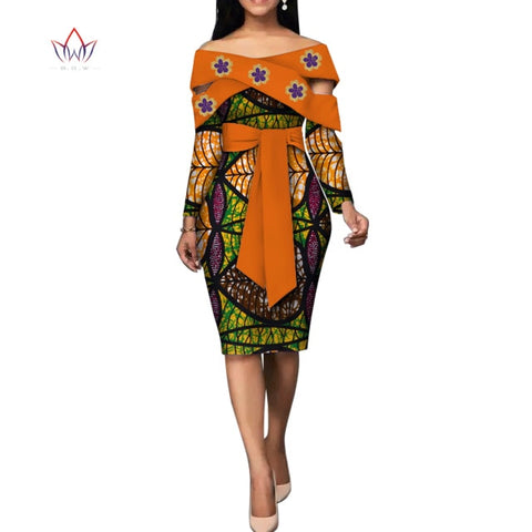 Fashion African Dresses for Women Bazin Riche African Print Cotton Midi Dress Sleeveless Bodycon Elegant Party Clothes WY4867