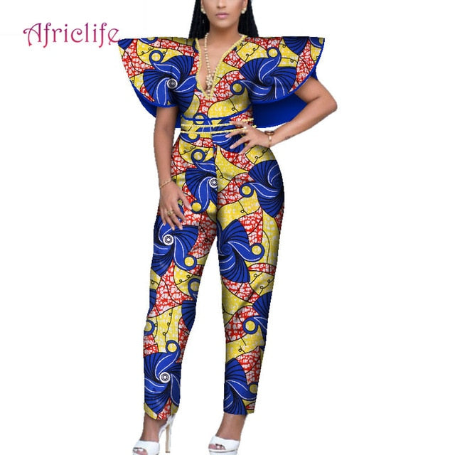 7d5d1f96dba ... Bazin Riche African Clothes Women Long Romper Jumpsuit Dashiki African  Style. Hover to zoom