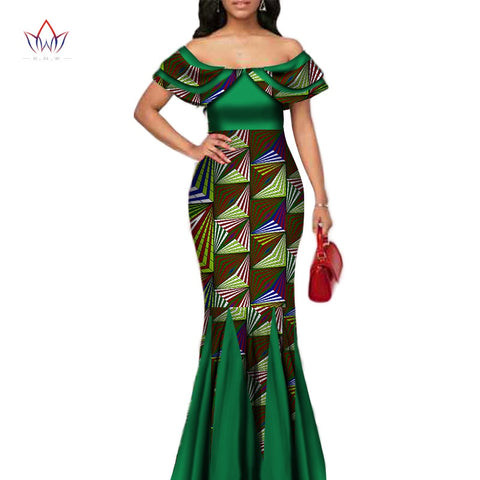 Fashion African Print Long Mermaid Dress for Women Bazin Rich Patchwork Peter Pan Colla Dresses African Design Clothing WY3272 1