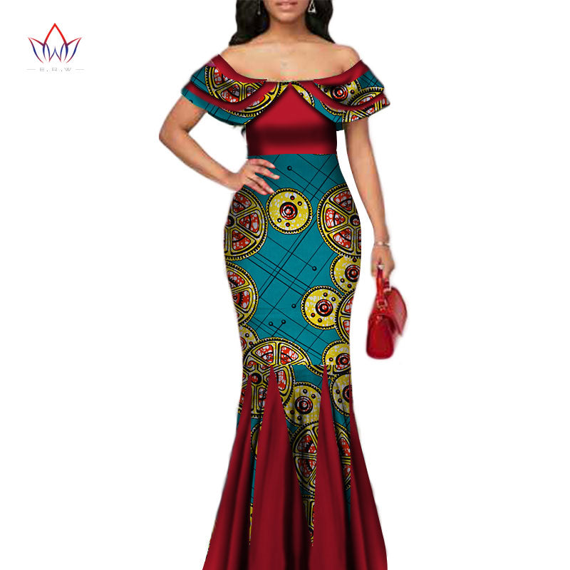 a467de34f8 Fashion African Print Long Mermaid Dress for Women Bazin Rich Patchwork  Peter Pan Colla Dresses African Design Clothing WY3272 1