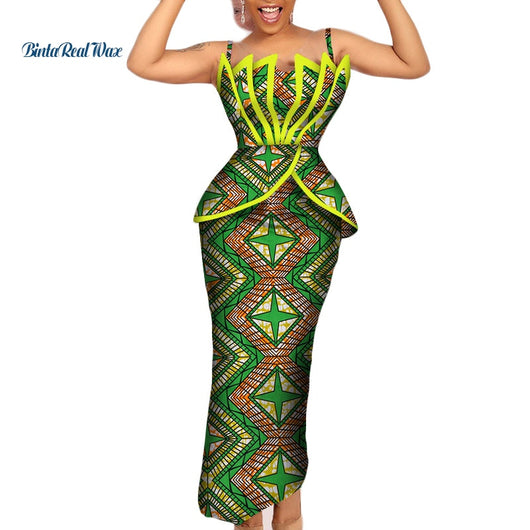Fashion African Print Ruffles Top and Skirts Sets for Women Bazin Riche African Women Clothing 2 Pieces Pencil Skirts Sets WY206